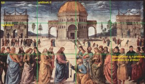 Creation of a multi-image target from a large image by sub-dividing into uniformly sized grids